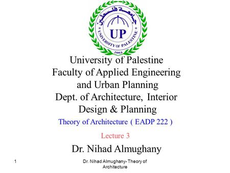 University of Palestine Faculty of Applied Engineering