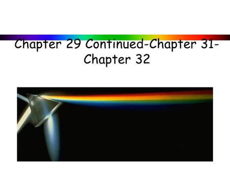Chapter 29 Continued-Chapter 31- Chapter 32. 29-3 EMF Induced in a Moving Conductor Example 29-8: Force on the rod. To make the rod move to the right.