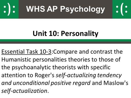 WHS AP Psychology Unit 10: Personality