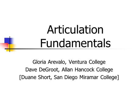 Articulation Fundamentals