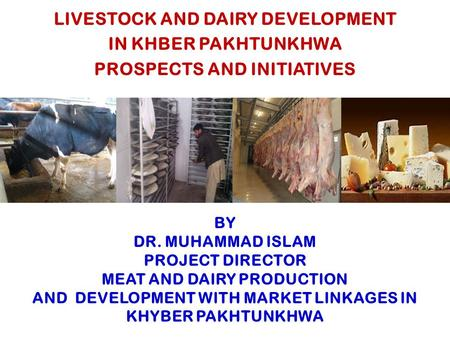 BY DR. MUHAMMAD ISLAM PROJECT DIRECTOR MEAT AND DAIRY PRODUCTION AND DEVELOPMENT WITH MARKET LINKAGES IN KHYBER PAKHTUNKHWA LIVESTOCK AND DAIRY DEVELOPMENT.