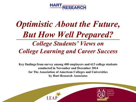 Optimistic About the Future, But How Well Prepared? College Students' Views on College Learning and Career Success Key findings from survey among 400 employers.