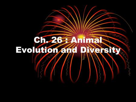 Ch. 26 : Animal Evolution and Diversity