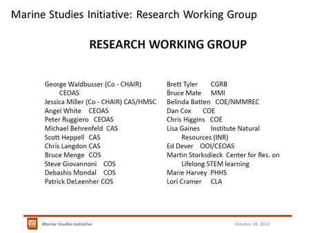 Marine Studies Initiative: Research Working Group.