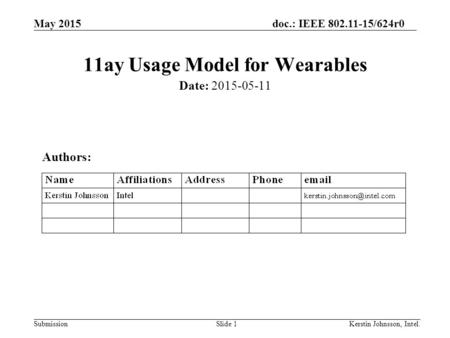 May 2015doc.: IEEE 802.11-15/624r0 SubmissionSlide 1 11ay Usage Model for Wearables Date: 2015-05-11 Authors: Kerstin Johnsson, Intel.