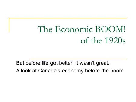 the boom of 1920s Transcript of the stock market boom of the 1920's the decade of the 1920s is usually cited as a period of great change and excitement.