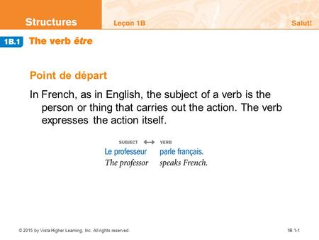 Point de départ In French, as in English, the subject of a verb is the person or thing that carries out the action. The verb expresses the action itself.