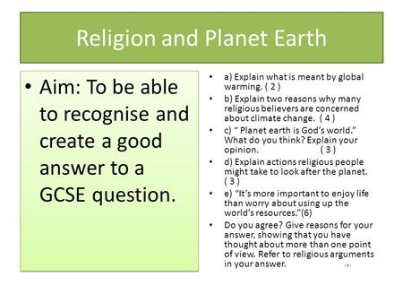 Religion and Planet Earth