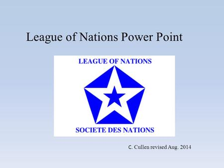 League of Nations Power Point