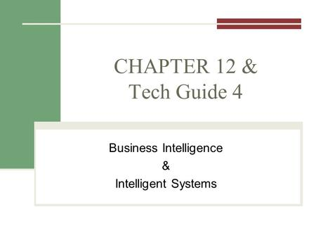CHAPTER 12 & Tech Guide 4 Business Intelligence & Intelligent Systems.