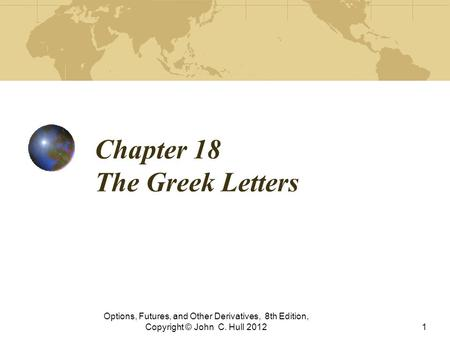 Chapter 18 The Greek Letters