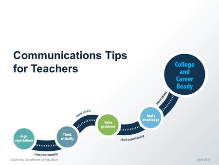 Communications Tips for Teachers California Department of Education April 2015.