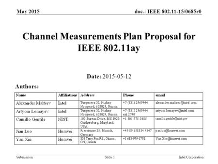 Doc.: IEEE 802.11-15/0685r0 Submission May 2015 Intel CorporationSlide 1 Channel Measurements Plan Proposal for IEEE 802.11ay Date: 2015-05-12 Authors: