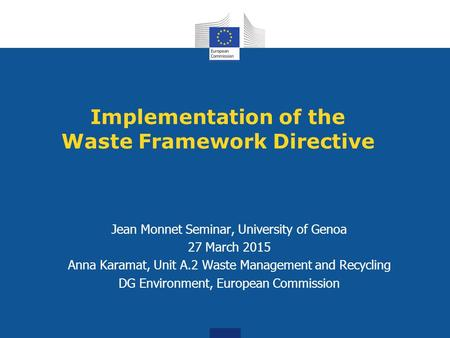 Implementation of the Waste Framework Directive