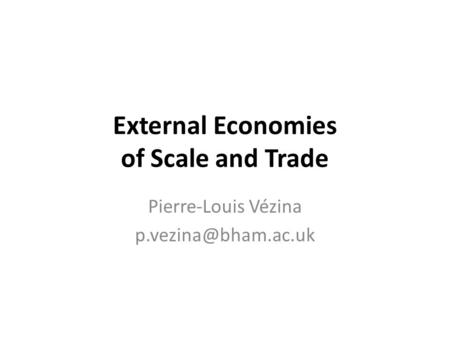 External Economies of Scale and Trade