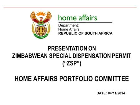 HOME AFFAIRS PORTFOLIO COMMITTEE