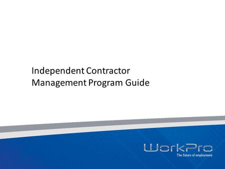 Independent Contractor Management Program Guide