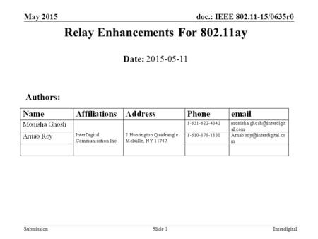 Relay Enhancements For ay