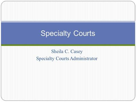 Sheila C. Casey Specialty Courts Administrator Specialty Courts.