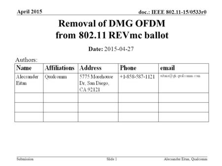 Submission doc.: IEEE 802.11-15/0533r0 April 2015 Alecsander Eitan, QualcommSlide 1 Removal of DMG OFDM from 802.11 REVmc ballot Date: 2015-04-27 Authors:
