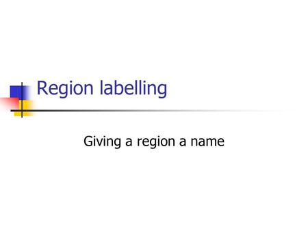 Region labelling Giving a region a name. Image Processing and Computer Vision: 62 Introduction Region detection isolated regions Region description properties.