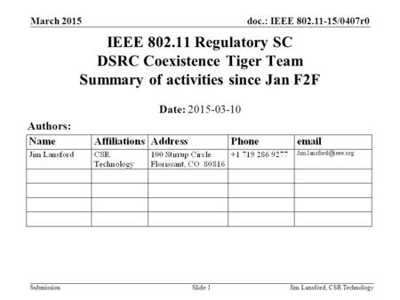 Doc.: IEEE 802.11-15/0407r0 Submission March 2015 Jim Lansford, CSR TechnologySlide 1 IEEE 802.11 Regulatory SC DSRC Coexistence Tiger Team Summary of.