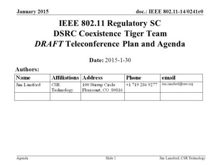 Doc.: IEEE 802.11-14/0241r0 Agenda January 2015 Jim Lansford, CSR TechnologySlide 1 IEEE 802.11 Regulatory SC DSRC Coexistence Tiger Team DRAFT Teleconference.