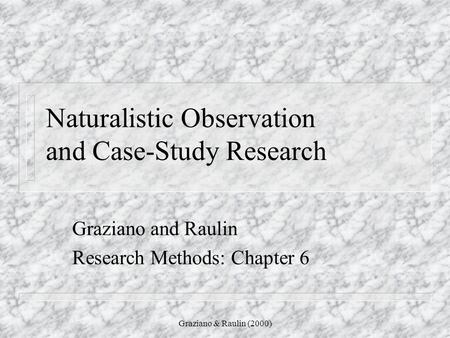 naturalistic observation method - YouTube