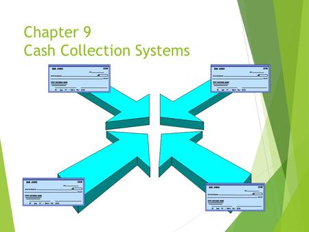Chapter 9 Cash Collection Systems. The Cash Flow Timeline Order Order Sale Payment Sent Cash Placed Received Received Accounts Collection Accounts Collection.