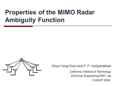 Properties of the MIMO Radar Ambiguity Function Chun-Yang Chen and P. P. Vaidyanathan California Institute of Technology Electrical Engineering/DSP Lab.