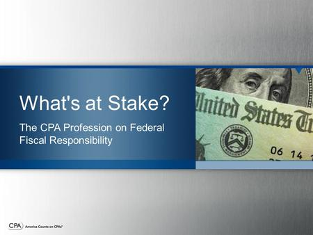 What's at Stake? The CPA Profession on Federal Fiscal Responsibility.