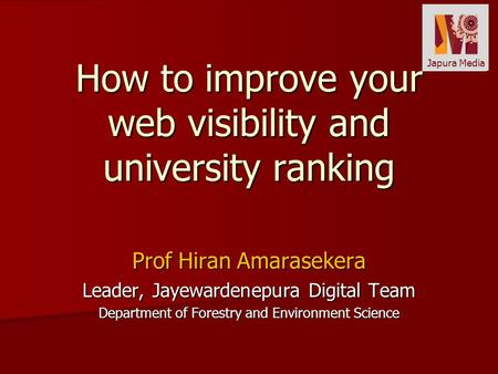 How to improve your web visibility and university ranking