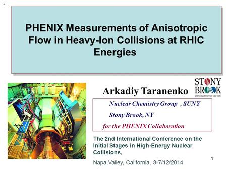 R. Lacey, SUNY Stony Brook PHENIX Measurements of Anisotropic Flow in Heavy-Ion Collisions at RHIC Energies 1 Nuclear Chemistry Group, SUNY Stony Brook,