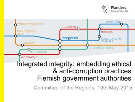 Integrated integrity: embedding ethical & anti-corruption practices Flemish government authorities Committee of the Regions, 19th May 2015.