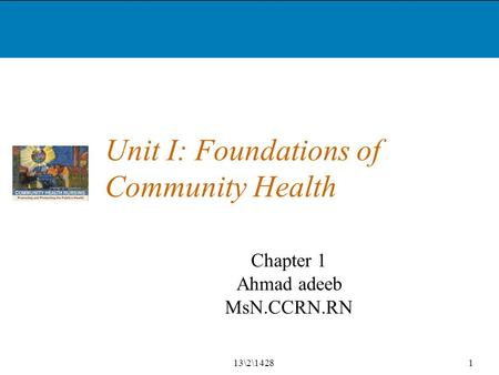 Unit I: Foundations of Community Health