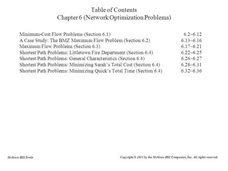 Table of Contents Chapter 6 (Network Optimization Problems)
