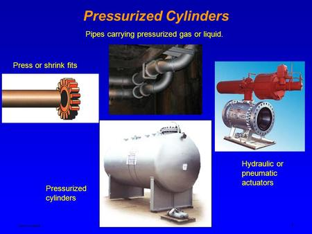 Ken Youssefi MAE dept. 1 Pressurized Cylinders Pipes carrying pressurized gas or liquid. Press or shrink fits Pressurized cylinders Hydraulic or pneumatic.