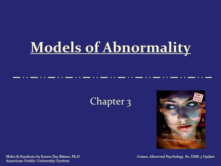 Models of Abnormality Chapter 3