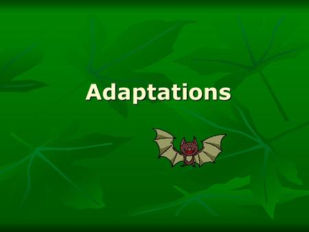 Adaptations.