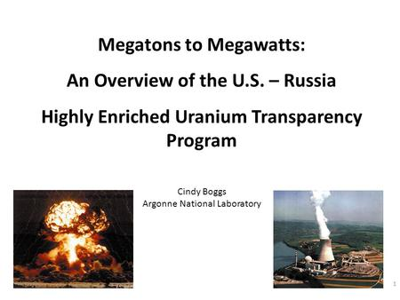 1 Cindy Boggs Argonne National Laboratory Megatons to Megawatts: An Overview of the U.S. – Russia Highly Enriched Uranium Transparency Program.