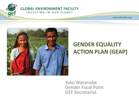 Yoko Watanabe Gender Focal Point GEF Secretariat GENDER EQUALITY ACTION PLAN (GEAP)