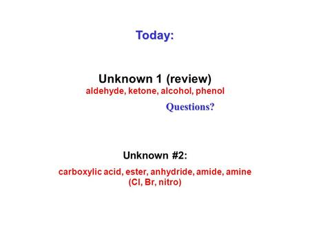 Today: Unknown 1 (review) aldehyde, ketone, alcohol, phenol