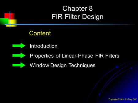 Chapter 8 FIR Filter Design