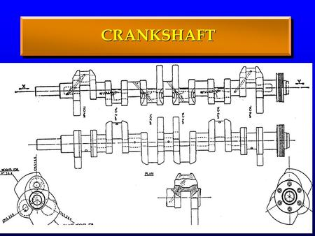 CRANKSHAFT. CRANKSHAFT CRANKSHAFT OPERATING CONDITIONS Variable forces and moments Variable forces and moments Alternating stresses (due to gas and inertia.