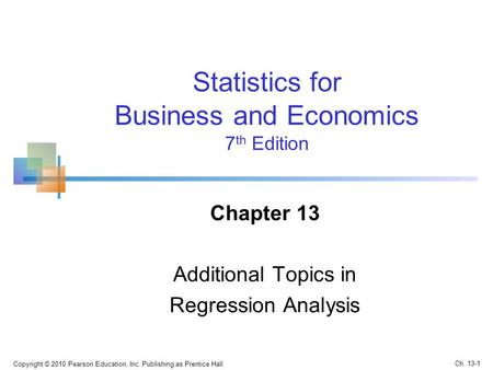 Chapter 13 Additional Topics in Regression Analysis