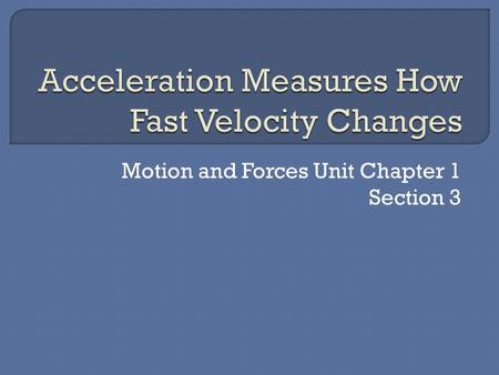 Motion and Forces Unit Chapter 1 Section 3. Acceleration.