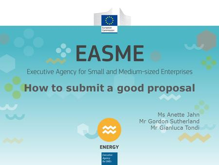How to submit a good proposal Ms Anette Jahn Mr Gordon Sutherland Mr Gianluca Tondi.