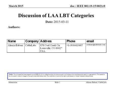 Doc.: IEEE 802.19-15/0021r0 SubmissionAlireza Babaei, CableLabsSlide 1 Discussion of LAA LBT Categories Notice: This document has been prepared to assist.