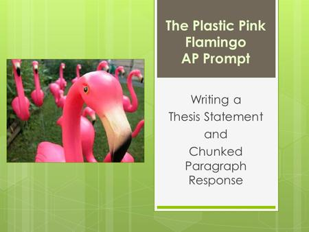 "the plastic pink flamingo essay Rhetorical analysis the plastic pink flamingo rhetorical analysis weebly, rhetorical analysis ""the plastic pink flamingo: a natural history"" write an essay in."