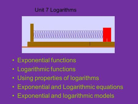 Unit 7 Logarithms Exponential functions Logarithmic functions Using properties of logarithms Exponential and Logarithmic equations Exponential and logarithmic.